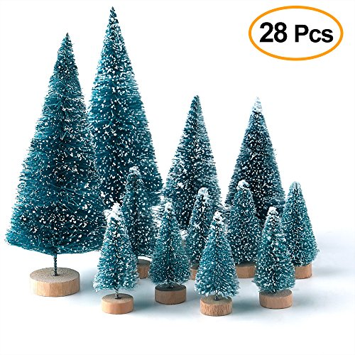 KUUQA 28PCS Mini Village Frosted Trees Bottle Brush Trees with Wooden Bases for Home Party Decoration and Craft Display (Tree Christmas Craft Decorations)