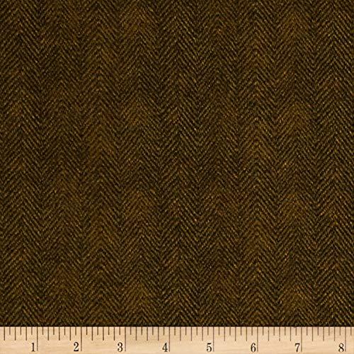 Maywood Studio Woolies Flannel Herringbone Fabric, Brown, Fabric By The Yard