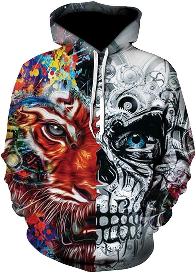 NingYu New 3D Sweatshirt Skull Hoody Printed Hoodies Streetwear Pullovers Jackets Clothing XXXL