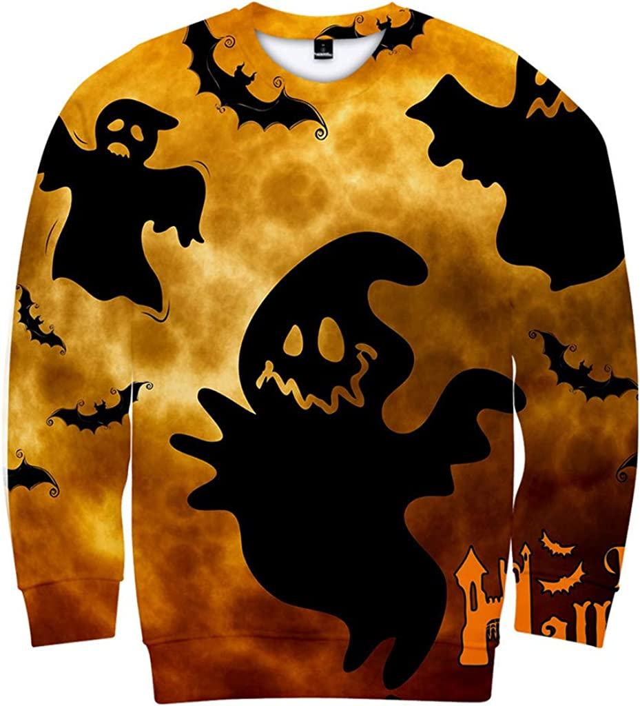SHUBHU Sweatshirts Hoodies Mens Long Sleeve Pullover Halloween 3D Print Tops