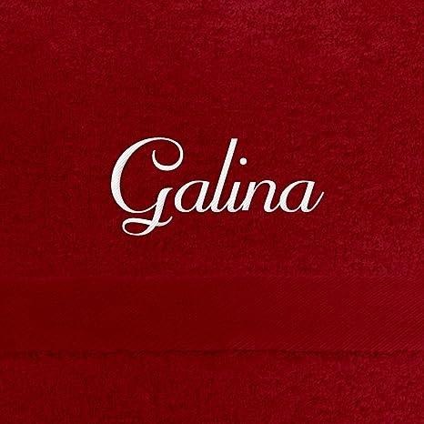 Toalla de baño con nombres Galina bordados, 70 x 140 cm, Rojo, extra