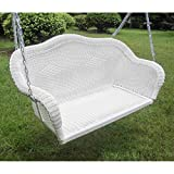 wicker porch swings International Caravan 3183-WT-IC Furniture Piece Resin Wicker Hanging Loveseat Swing