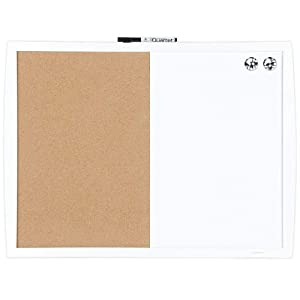 "Quartet Combination Magnetic Whiteboard & Corkboard, 17"" x 23"", Combo White Board & Cork Board, Curved Frame, White (41723-WT)"
