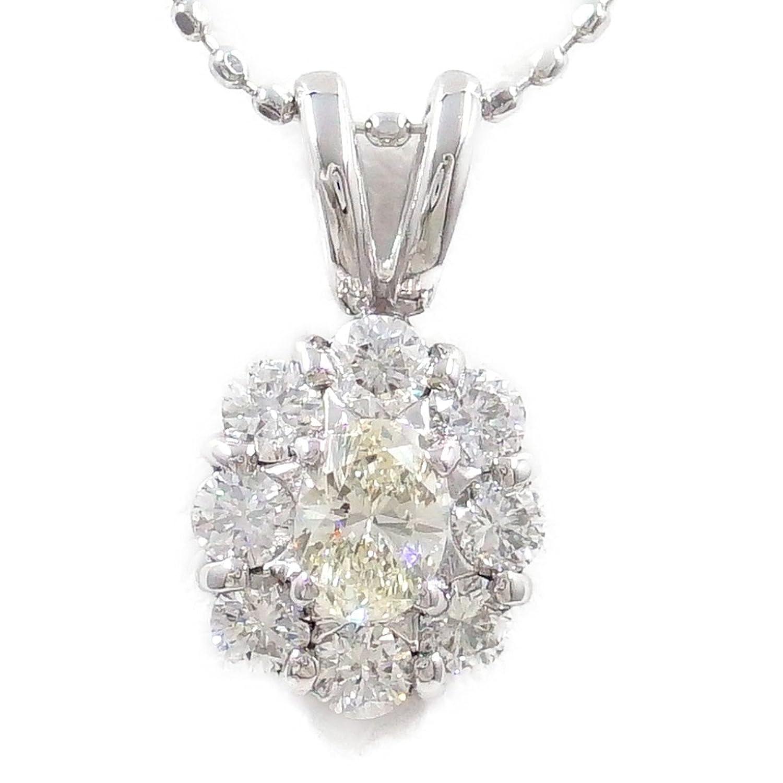 K18 18金 WG ホワイトゴールド ネックレス イエローダイヤ 0.223 VS1 ダイヤ 0.33 鑑定書 中古 ジュエリー B07C8D5MWT