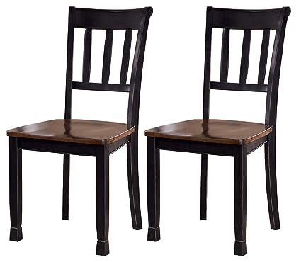 Ashley Furniture Signature Design Owingsville Dining Room Side Chair Latter Back Set Of 2 Black Brown