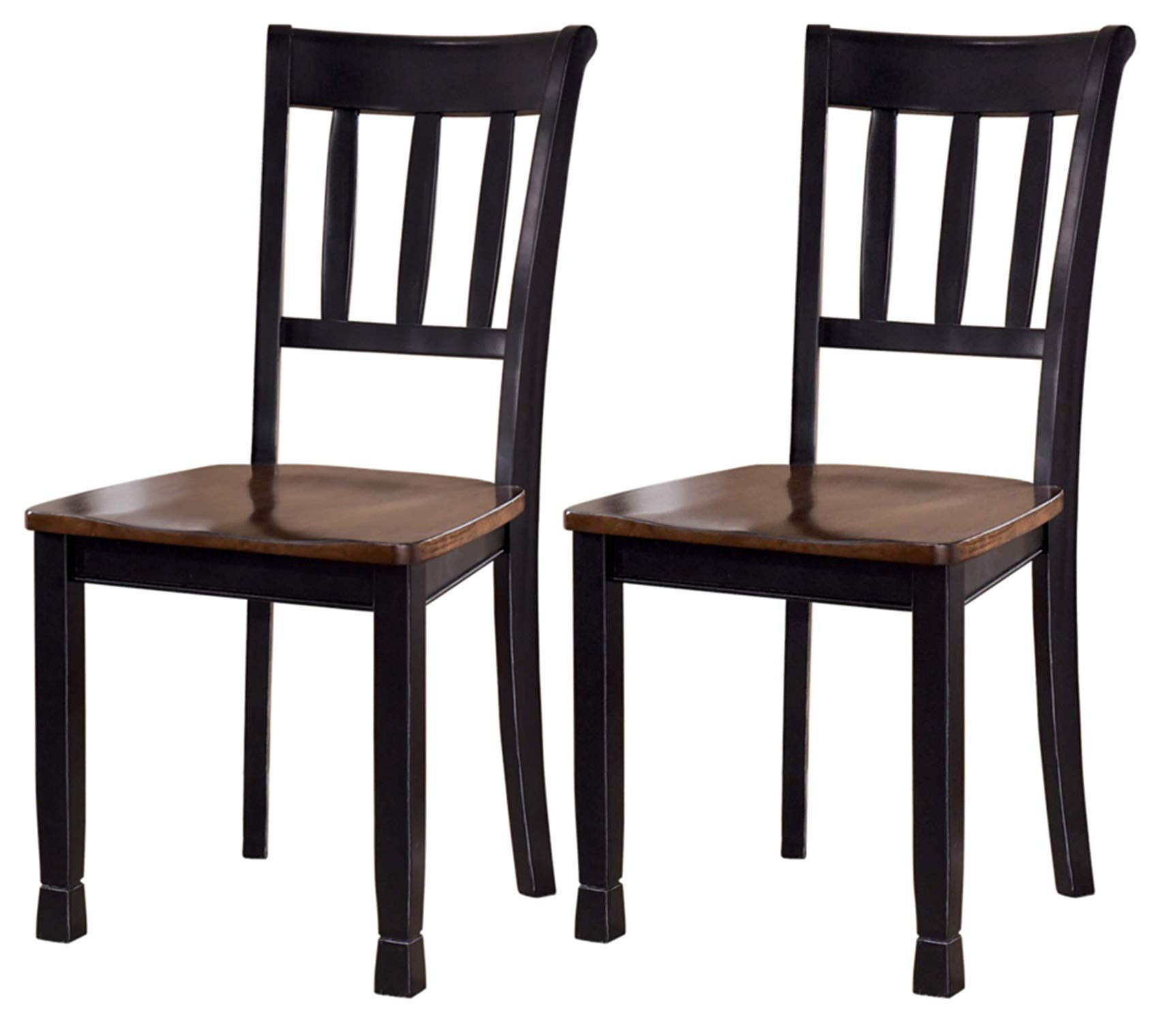 Ashley Furniture Signature Design - Owingsville Dining Room Side Chair - Latter Back - Set of 2 - Black-Brown by Signature Design by Ashley (Image #1)