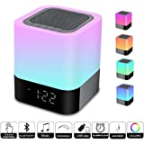 Touch Control Bedside Lamp with Wireless Bluetooth Speaker, Portable Smart LED Touch Sensor Table Lamp Dimmable RGB Multi-Color Changing Night Light, All in 1 Alarm Clock, MP3 Player, Handsfree Calls Bluetooth Speaker Light Touch Lamp Mood Lighting Reading Lamp
