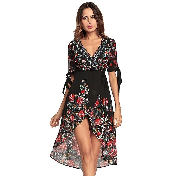 Vestido Atractivo De La Gasa De La Impresión Floral del V-Cuello Bajo Atractivo De