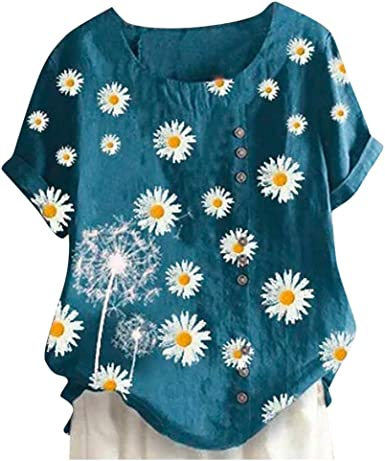 Womens Crew Neck Linen Daisy Tops Blouse Ladies Summer Casual Loose Shirts Tops