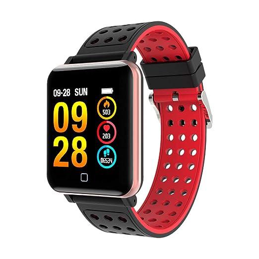 Denret3rgu Reloj Inteligente Deportivo M19 Rastreador de Ejercicios Monitor de sueño presión Arterial Pulsera - Rojo: Amazon.es: Relojes