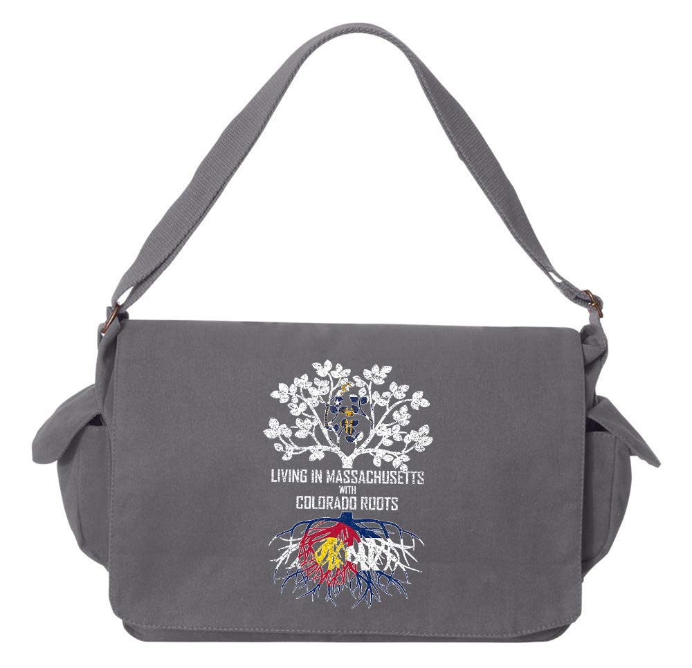 Tenacitee Living In Massachusetts with Colorado Roots Grey Brushed Canvas Messenger Bag