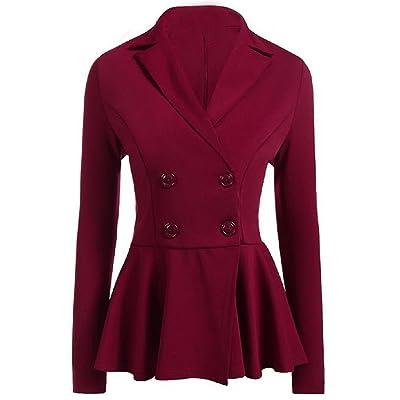 Abetteric Women Pure Color Double Button Loose Hem Plain Blazer Jacket