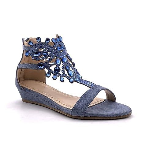 Strass Mode Diamant Oriental Angkorly Chaussure Ouvert Compensé Sandale Femme Bijoux Talon Plate 4jR35ALq