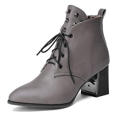 SHOWHOW Damen Nieten Stiefelette Blockabsatz Kurzschaft Stiefel Grau 40 EU gkHlZH5zZC