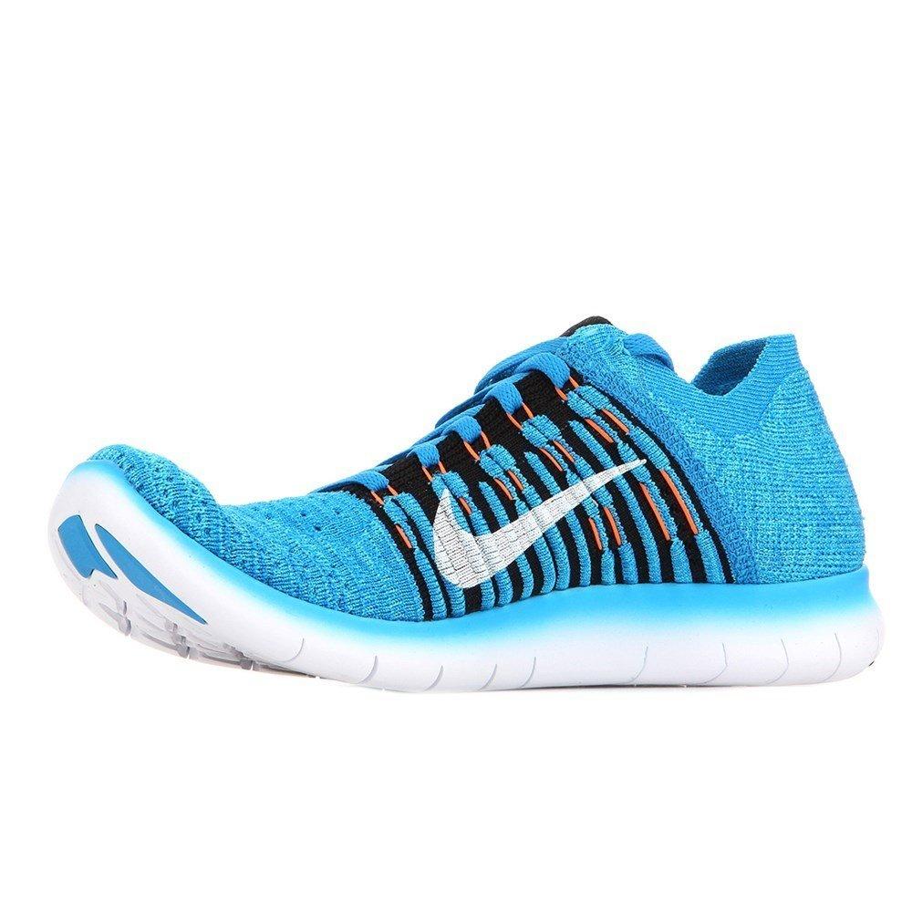 Nike Kids Free RN Flyknit GS, PHOTO BLUE/BLACK-GAMMA BLUE-TOTAL ORANGE, Youth Size 6.5