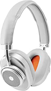 Master & Dynamic MW65 Active Noise-Cancelling (Anc) Wireless Headphones – Bluetooth Over-Ear Headphones with Mic - Silver Metal/Grey Leather