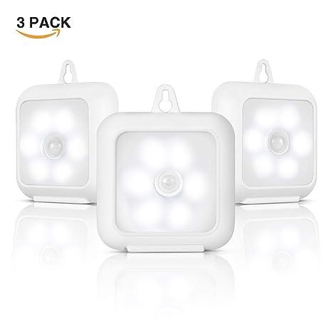 Sensor de movimiento luz nocturna, inalámbrico luz nocturna LED a pilas con Stander y imán