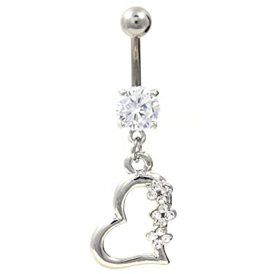Titanium Gem Heart Belly Navel Ring Clear Gems Dangle Button Piercing Jewelry Solid Titanium Bar