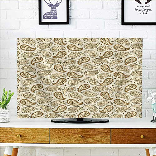 L-QN Cover for Wall Mount tv Oriental Ethnic Traditial Paisley Detailed Motifs with Color Ctours Persian Cult Cover Mount tv W36 x H60 INCH/TV 65
