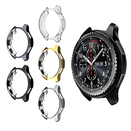 5 Pack Case for Samsung Gear S3/Galaxy Watch 46mm, Haojavo Soft TPU Plated Protective Bumper Shell Protector for Samsung Gear S3 Frontier/Classical & ...