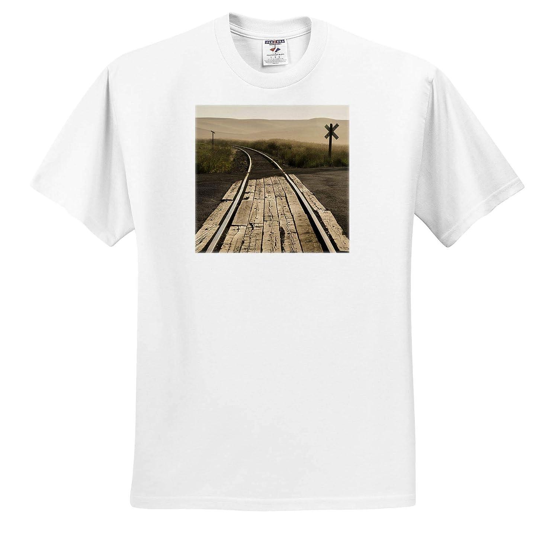 Railroad Tracks ts/_315153 - Adult T-Shirt XL Palouse Trains USA Washington State 3dRose Danita Delimont
