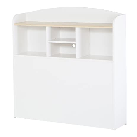 South Shore Furniture, Summertime Collection, Bookcase Headboard 39u0026quot;,  Pure White And Natural