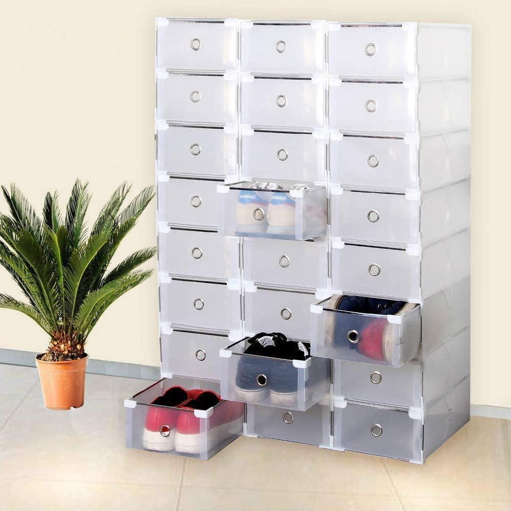 Shoe storage box Stackable Shoe box 24x Transparen Drawer Plastic Foldable womens men shoe Organizer (Clear)