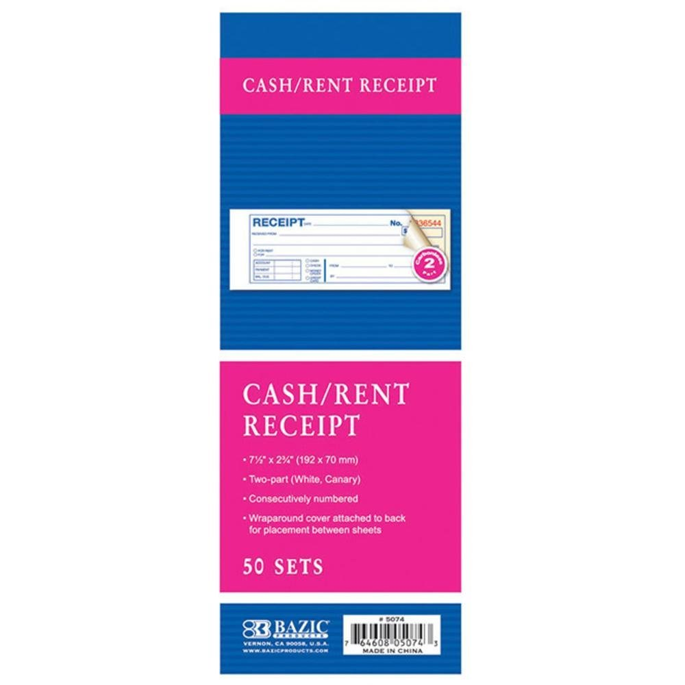 BAZIC 50 Sets 7 1/2'' x 2 3/4'' 2-Part Carbonless Cash or Rent Receipt, Case Pack of 144