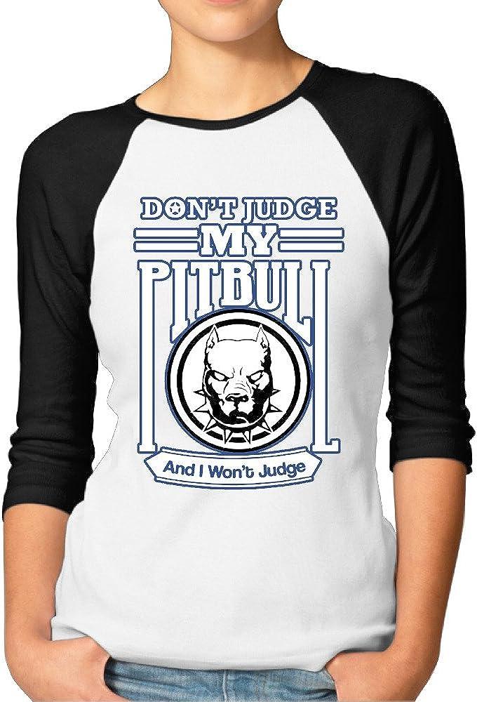 No juez mi Pitbull divertido print–3/4Manga Raglán camiseta de manga corta para mujer