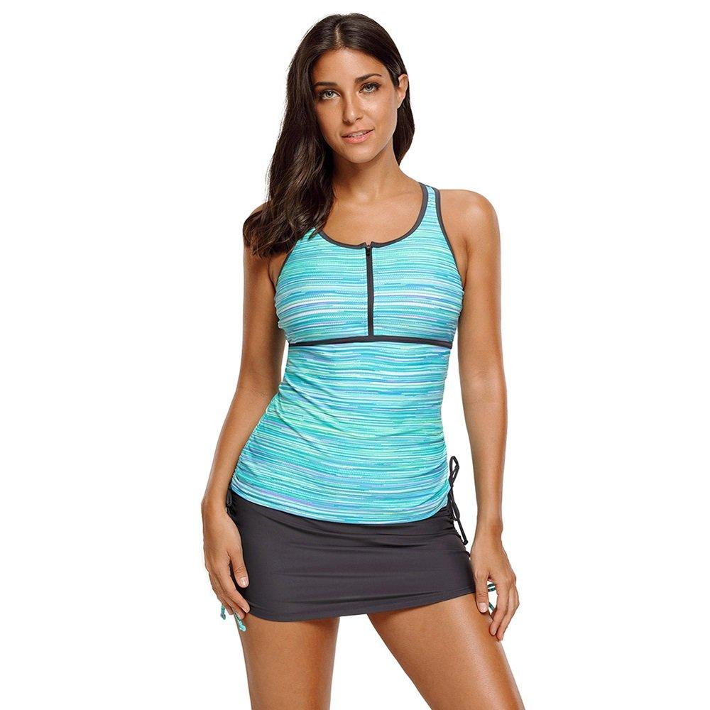 女性の 大きなサイズ ビキニ ラウンドネック ノースリーブ ローウエスト 保守的な 水着 分割 水着 (Color : Green, Size : XL) B07F59LS4Q X-Large Green