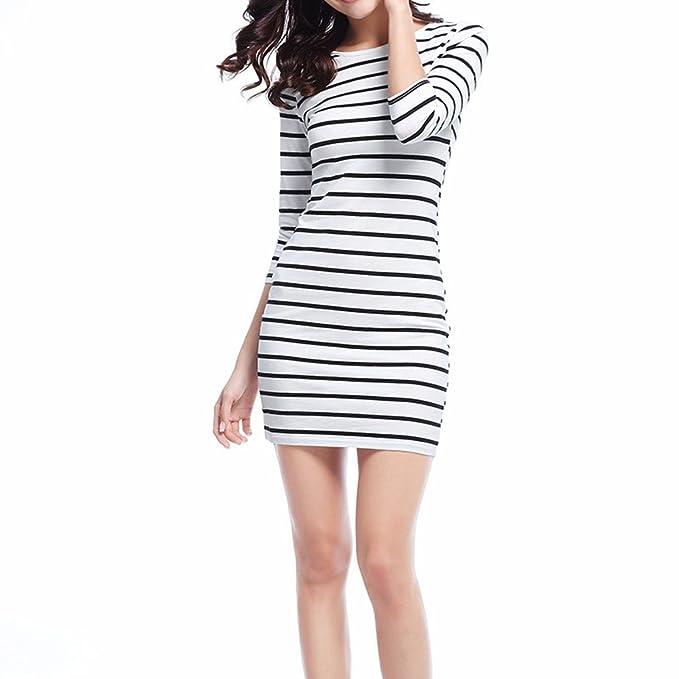 4828a324f3 Soatrld Women s 3 4 Sleeve White Black Striped Mini Bodycon Dress Wear to  Work Casual