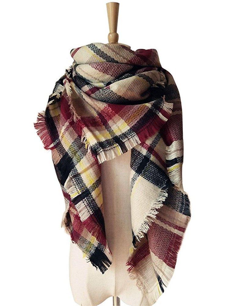Women Triangle Plaid Tartan Scarf Winter Warm Blanket Wrap Shawl Elufly