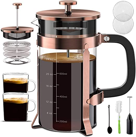QUQIYSO Upgraded French Press Coffee Maker Stainless Steel 34 oz Coffee Press with Stainless Steel Stand Precise Scale Easy to Clean Durable Heat Resistant Glass Black//Copper//Silver