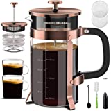 Upgraded French Press Coffee Maker Stainless Steel 34 oz, Coffee Press with Stainless Steel Stand Precise Scale Easy to…