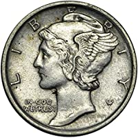 """1916-1945 Silver Mercury Dime. Beautiful Authentic""""Fascist"""" USA Coin With Fasces Same Symbol Later Used By Benito Mussolini Dime Circulated Graded by Seller"""