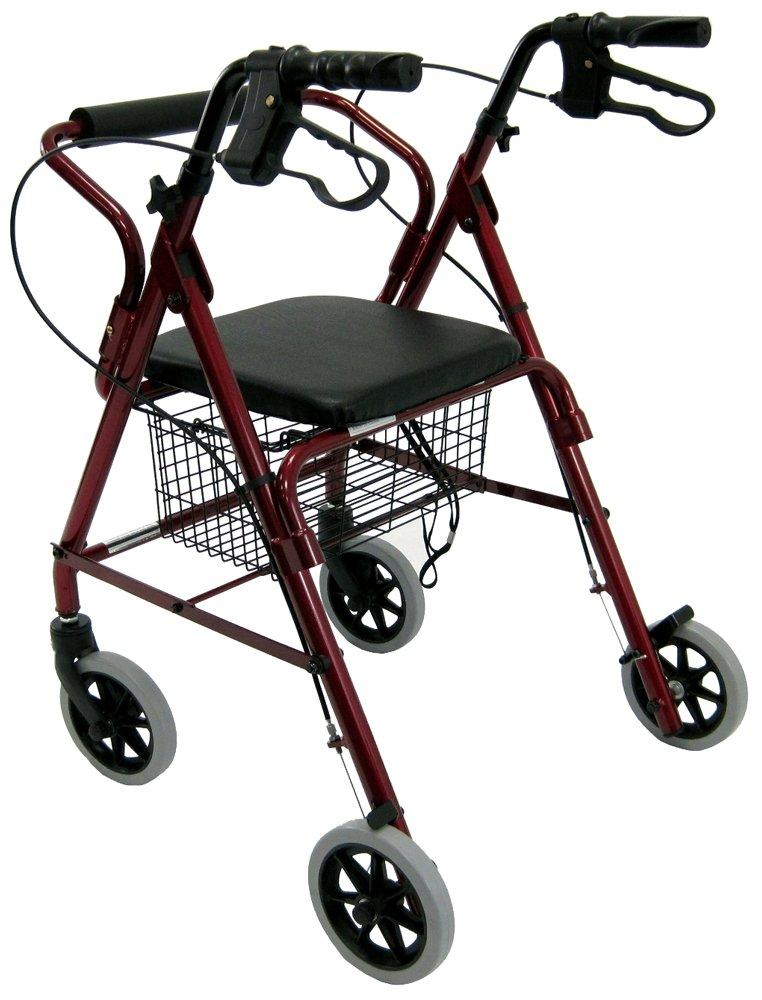 "Karman Healthcare R-4100N-BD Aluminum Junior Rollator with Low Seat, Burgundy, 6"" Casters"