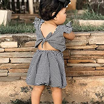 Infant Toddler Girl Romper Clothes Lace Collar Cotton Ruffle Sleeve Dress Baby Girls Summer Party Casual Sundress