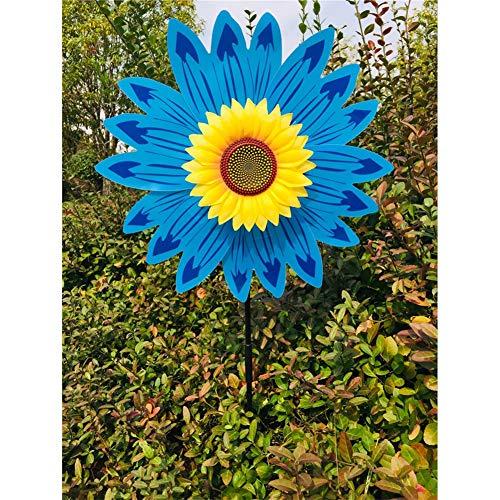 (DishyKooker Sunflower Windmill Wind Turbine for Lawn Garden Party Decoration Blue)