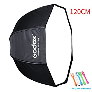 "Godox 47""/120cm Umbrella Octagon Softbox Reflector with Carrying Bag for Portrait or Product Photography with SUPON USB LED (120cm)"