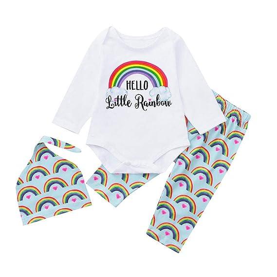 Recién Nacido Bebé Niña niño Arco Iris Carta Mameluco Tops+ ...
