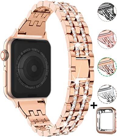 Compatible with Apple Watch Band with Case 38mm 40mm 42mm 44mm for Women, CTYBB Rhinestone Metal Jewelry Wristband Strap Replacement for iWatch ...