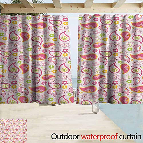 AndyTours Custom Curtain,Girls Paisley Leaf and Daisy Flowers Pattern Floral Spring Theme Girls Kids Room Nursery,Darkening Thermal Insulated Blackout,W72x45L Inches,Pink Green