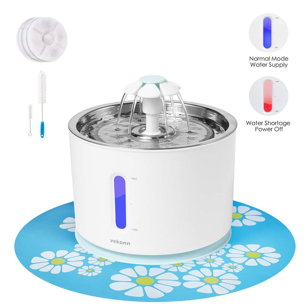 Vekonn Cat Water Fountain, Stainless Steel Top and Intelligent Auto Power Off Pump 3 Carbon Filters, 1 Mat and 2 Cleaning Brushes, Water Level Window with LED Light