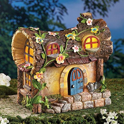 Solar Lighted Fairy Garden House Tree Stump (Solar Door Fairy)