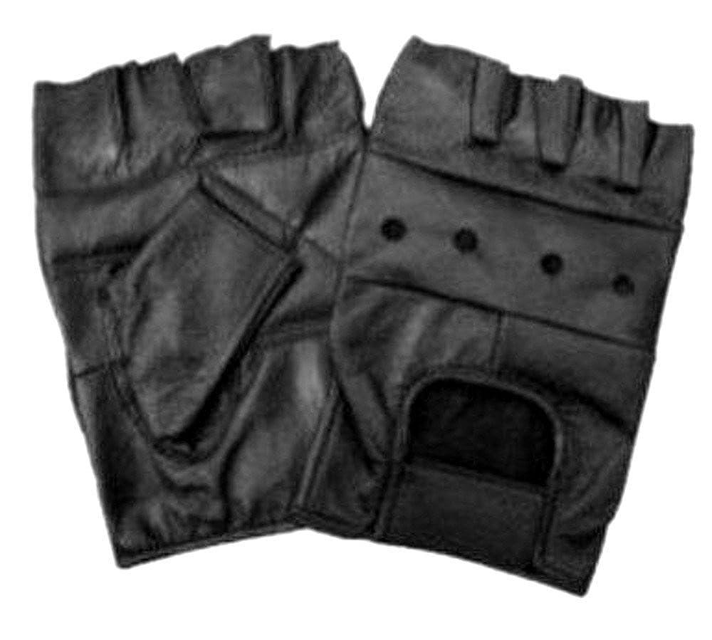 Medium Motorcycle Riders, Solid Genuine Black Leather Fingerless Gloves for Bikers