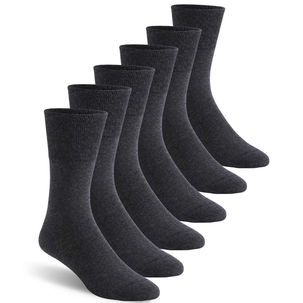 Non-Binding Diabetic Socks, Feelwe Men's Dress Crew Socks Cushioned Cotton Socks Ankle Extra-Wide Diabetic Socks with Seamless Toe 6 Pairs Dark Grey L by Feelwe