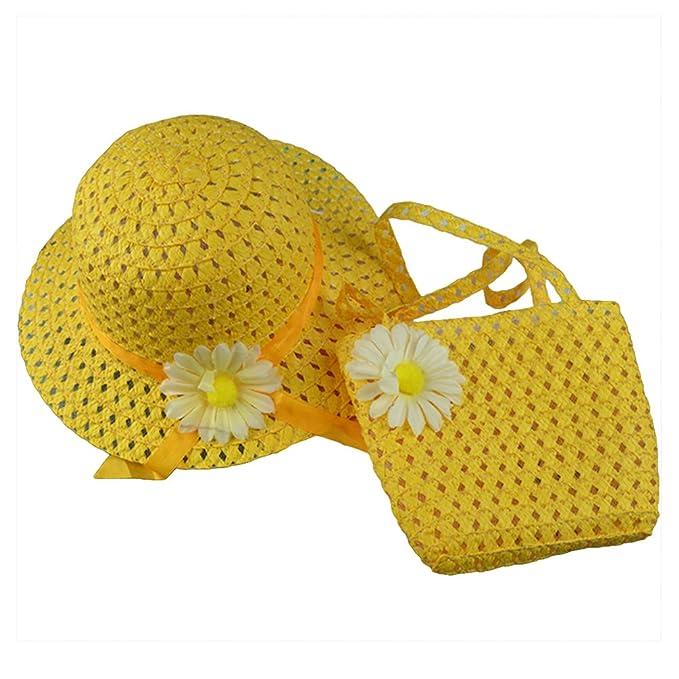 bismarckbeer Kid Girls Straw Sun Hat Summer Beach Flower Princess Hat Bag Gift Set