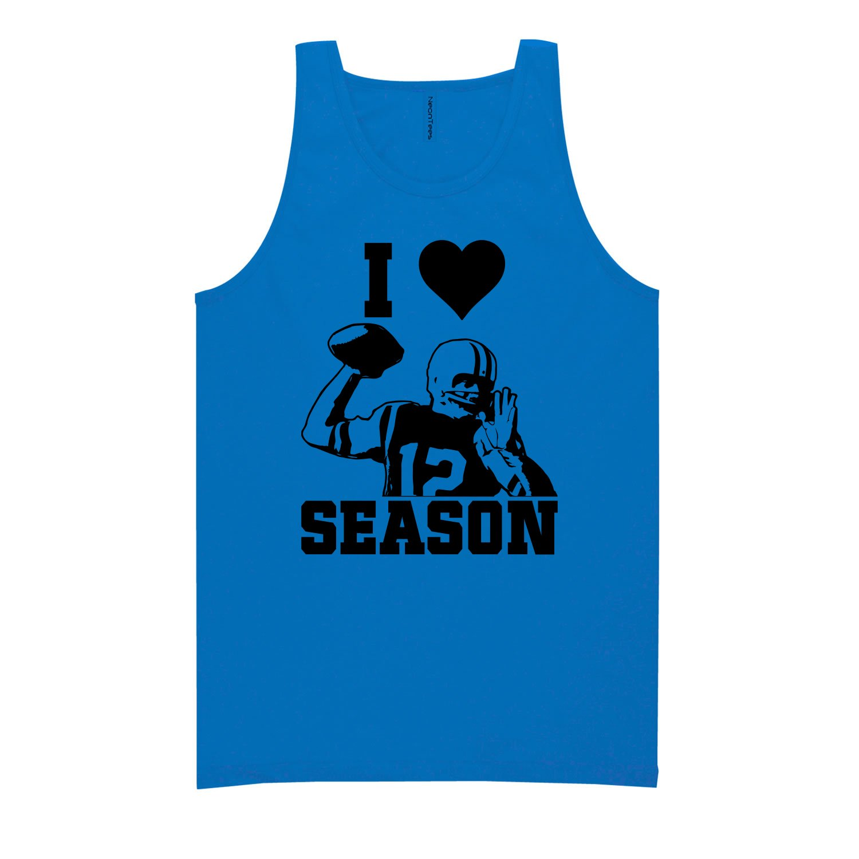 I Love Football Season Neon Blue Tank Top - XX-Large