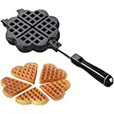 Toponechoice Mini Aluminum Double Heart Shaped Stove Top Waffle Maker Waffle Iron Griddle Pan (4 slice heart-shaped plate)