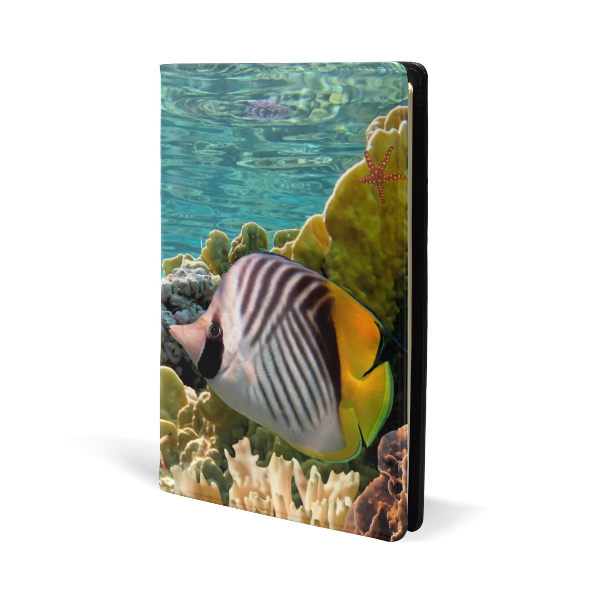 aideessカラフルCoral Reef Sea Turtle魚Stretchable Book cover-fits教科書最もハードカバーUp To 8.7 X 5.8 in粘着フリー、レザーファブリックSchool Bookプロテクター、簡単にPut Onジャケット   B075132QRQ